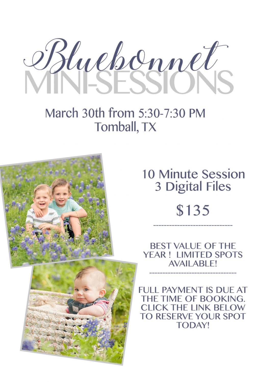 Bluebonnet Mini Sessions in Tomball, TX